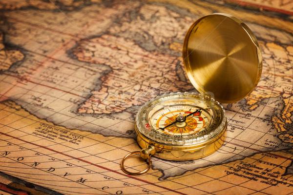 ストックフォト: 古い · ヴィンテージ · コンパス · 古代 · 地図