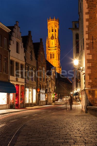 улице ночь Бельгия дома домой архитектура Сток-фото © dmitry_rukhlenko