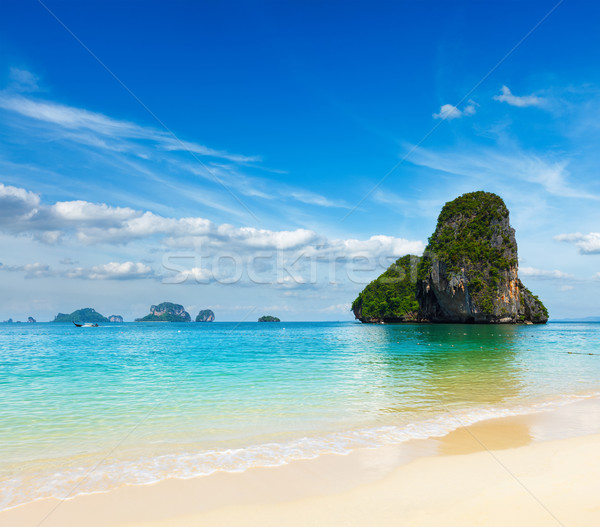 Plage krabi Thaïlande mer été Rock Photo stock © dmitry_rukhlenko