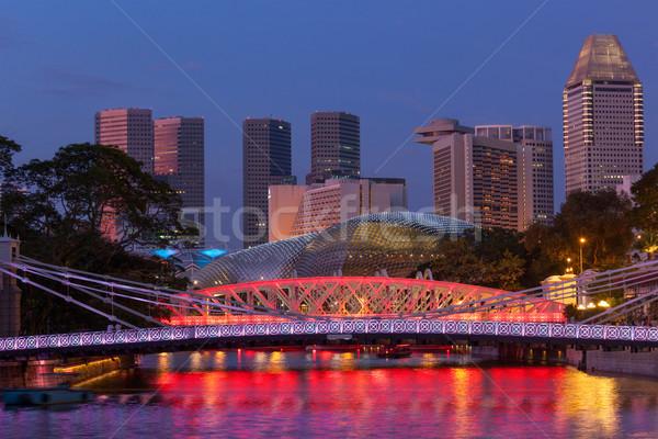 Singapore skyline and Cavenagh Bridge Stock photo © dmitry_rukhlenko