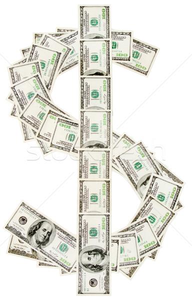 Teken honderd dollar bankbiljetten geïsoleerd witte Stockfoto © dmitry_rukhlenko