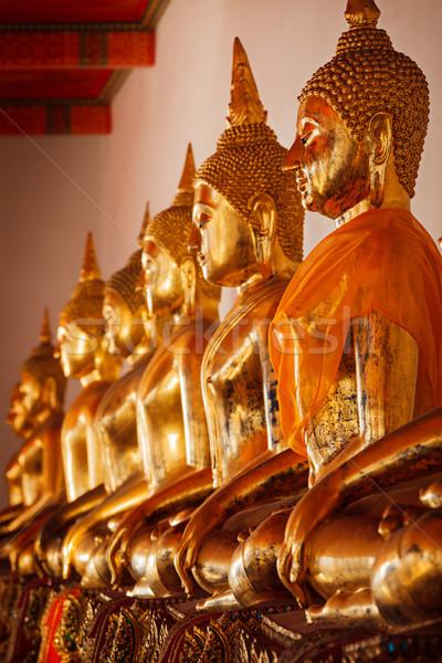 Foto d'archivio: Seduta · buddha · Thailandia · fila · tempio