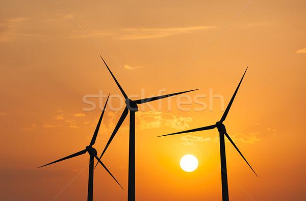 Szél generátor égbolt zöld megújuló energia naplemente Stock fotó © dmitry_rukhlenko