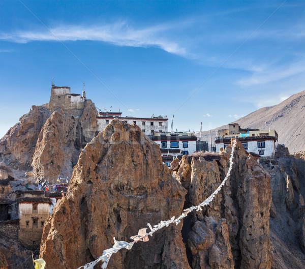 Dhankar gompa (Tibetan Buddhist monastery) and prayer flags (lun Stock photo © dmitry_rukhlenko