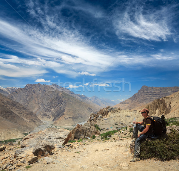Tourist in Himalayas Stock photo © dmitry_rukhlenko