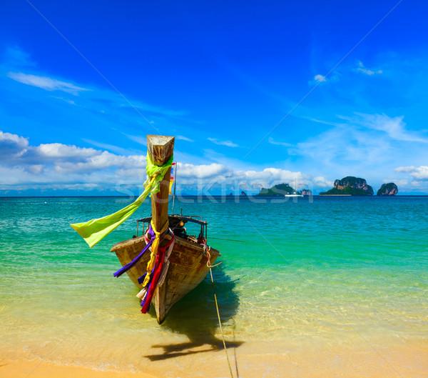 долго хвост лодка пляж Таиланд тропический пляж Сток-фото © dmitry_rukhlenko