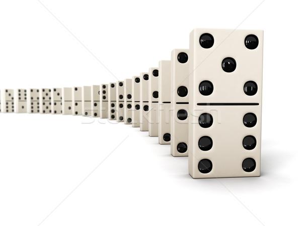 Rij domino witte geïsoleerd groep keten Stockfoto © dmitry_rukhlenko