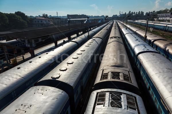 Trains at train station. Trivandrum, Kerala, India Stock photo © dmitry_rukhlenko