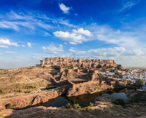 Fort Indië gebouw stad muur Blauw Stockfoto © dmitry_rukhlenko