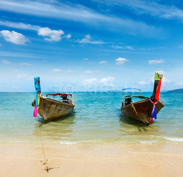 Longtemps queue bateau plage Thaïlande plage tropicale Photo stock © dmitry_rukhlenko