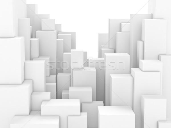 Soyut şehir beyaz bloklar kutu Cityscape Stok fotoğraf © dmitry_rukhlenko
