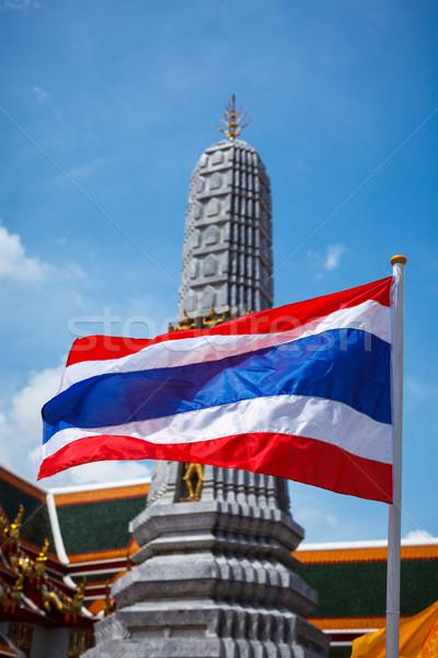 Thaiföld zászló buddhista templom Bangkok Stock fotó © dmitry_rukhlenko