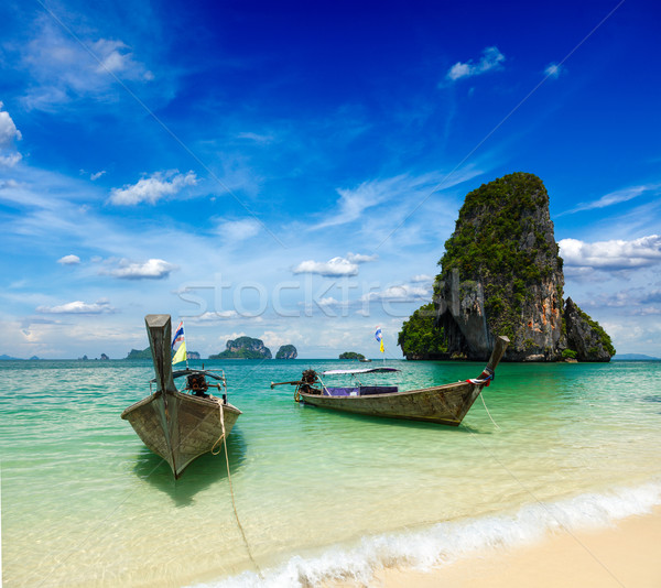 Stock photo: Long tail boats on beach, Thailand