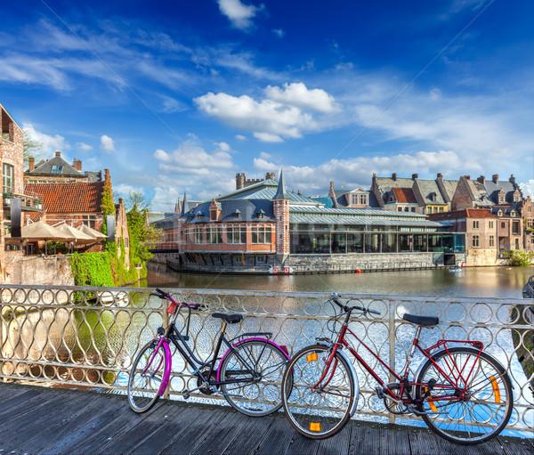 моста Велосипеды канал велосипед популярный транспорт Сток-фото © dmitry_rukhlenko