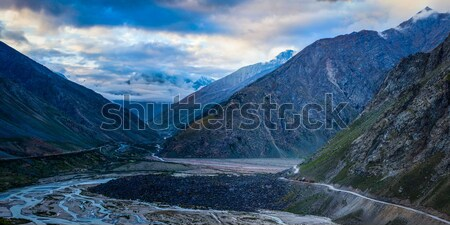 Manali-Leh road in Lahaul valley in the morning. Himachal Prades Stock photo © dmitry_rukhlenko