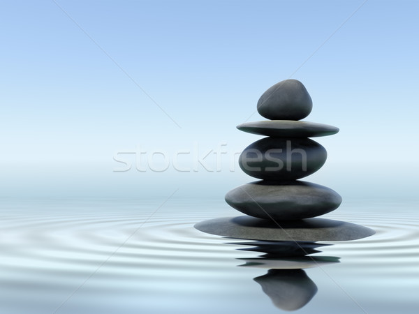 Zen stenen water rock steen zwarte Stockfoto © dmitry_rukhlenko