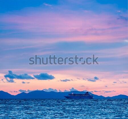 Stok fotoğraf: Deniz · gün · batımı · gemi · tatil · seyir