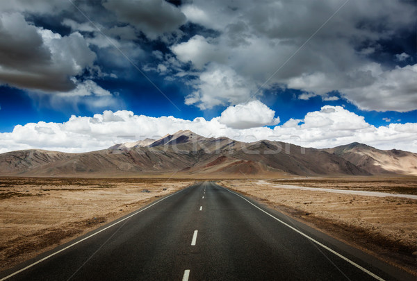 Road on plains in Himalayas with mountains Stock photo © dmitry_rukhlenko