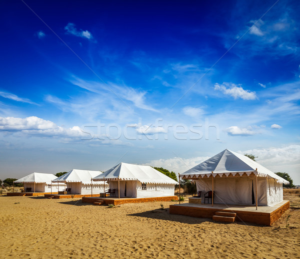 Tent camp in desert. Jaisalmer, Rajasthan, India. Stock photo © dmitry_rukhlenko