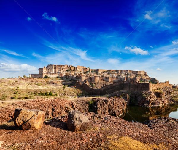 форт Индия город стены рок Сток-фото © dmitry_rukhlenko