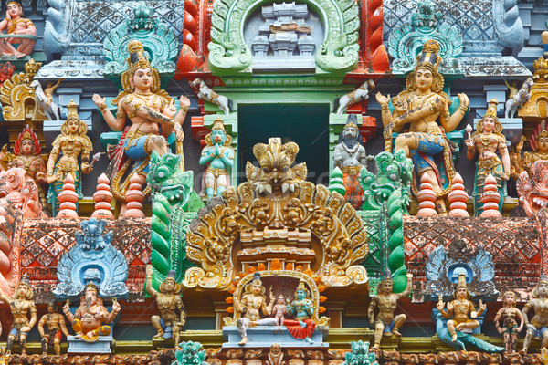 Sculptures on Hindu temple tower Stock photo © dmitry_rukhlenko