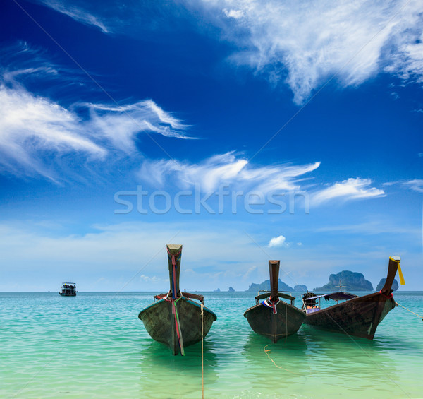 Long tail boats on beach, Thailand Stock photo © dmitry_rukhlenko