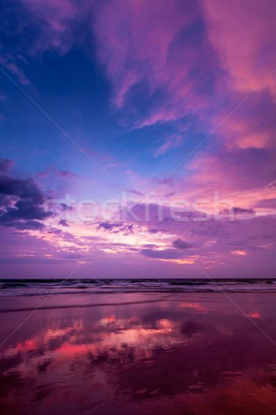 Naplemente tengerpart Goa trópusi vakáció ünnepek Stock fotó © dmitry_rukhlenko