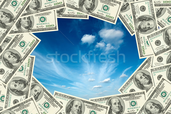 Sky visible thru frame made of dollars Stock photo © dmitry_rukhlenko