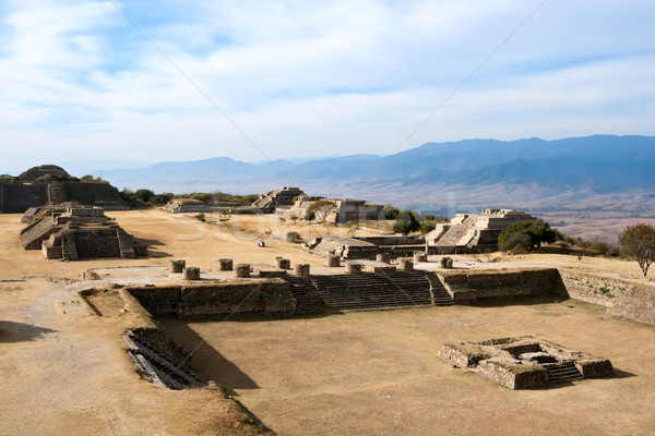 Ancient ruins on plateau Monte Alban in Mexico  Stock photo © dmitry_rukhlenko