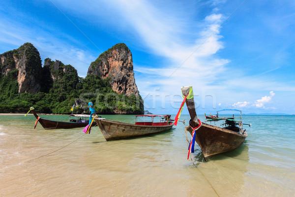 долго хвост лодках пляж Таиланд тропический пляж Сток-фото © dmitry_rukhlenko