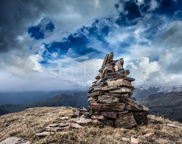 Stone cairn in Himalayas Stock photo © dmitry_rukhlenko