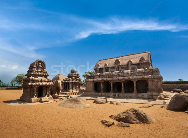 Five Rathas. Mahabalipuram, Tamil Nadu, South India Stock photo © dmitry_rukhlenko