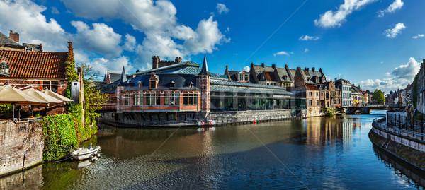 Kanal Belçika ortaçağ Bina su ev Stok fotoğraf © dmitry_rukhlenko