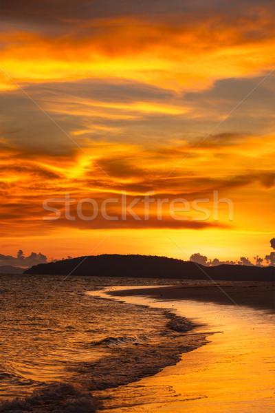 Stok fotoğraf: Plaj · gün · batımı · deniz · krabi · Tayland · gökyüzü