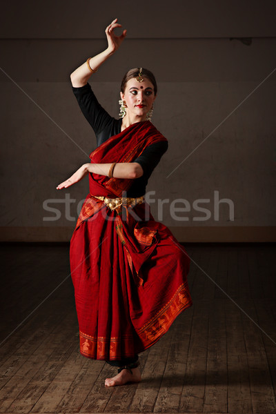 Photo stock: Danse · jeune · femme · danse · classique · traditionnel · indian