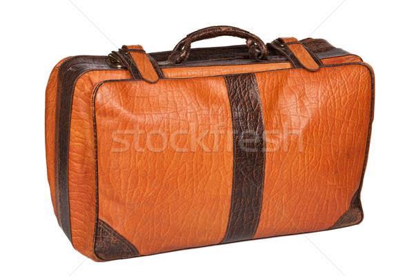 Stock fotó: öreg · bőrönd · izolált · bőr · fehér · utazás