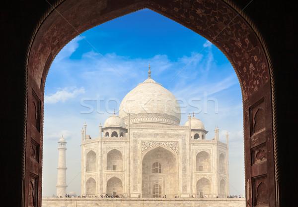 Taj Mahal boog Indië indian symbool reizen Stockfoto © dmitry_rukhlenko