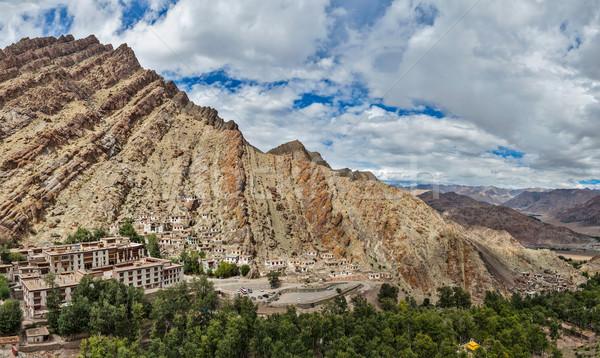 Indië panorama klooster berg bergen Stockfoto © dmitry_rukhlenko