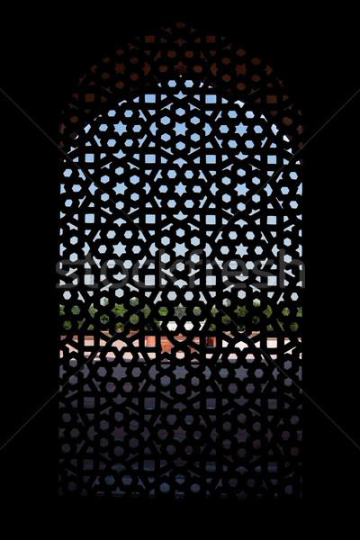 Marmer scherm venster graf Delhi Indië Stockfoto © dmitry_rukhlenko