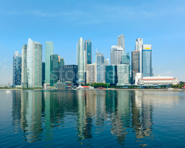 Photo stock: Singapour · Skyline · quartier · des · affaires · marina · eau · architecture