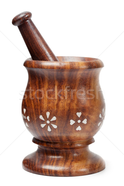 Wooden mortar and pestle isolated Stock photo © dmitry_rukhlenko