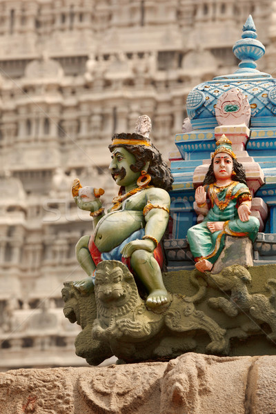 Sculptures on Hindu temple tower Stock photo © dmitry_rukhlenko