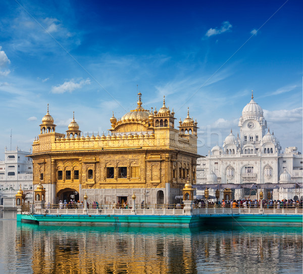 Foto stock: Dourado · templo · sikh · água · piscina · arquitetura