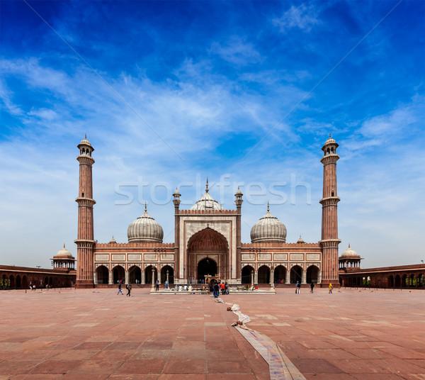 Legnagyobb muszlim mecset India Delhi épület Stock fotó © dmitry_rukhlenko