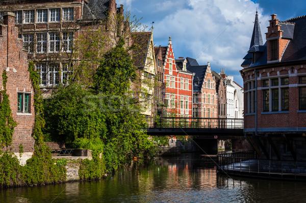 канал Бельгия путешествия средневековых европейский город Сток-фото © dmitry_rukhlenko