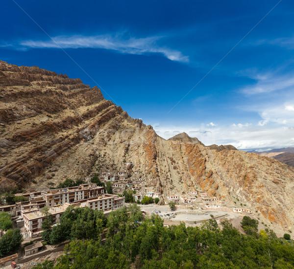 Indië klooster hemel boom landschap Stockfoto © dmitry_rukhlenko