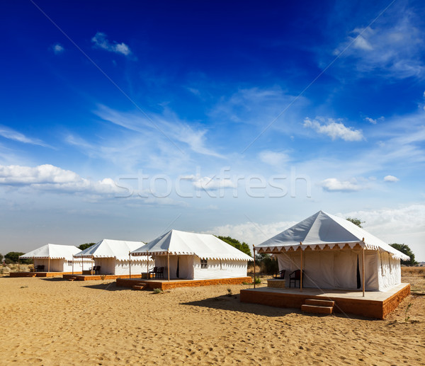 Tent camp in desert. Jaisalmer, Rajasthan, India. Stock photo © dmitry_rukhlenko
