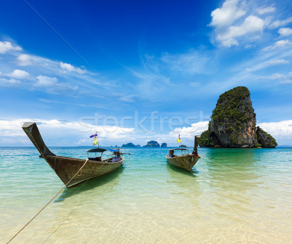 Long tail boats on beach, Thailand Stock photo © dmitry_rukhlenko