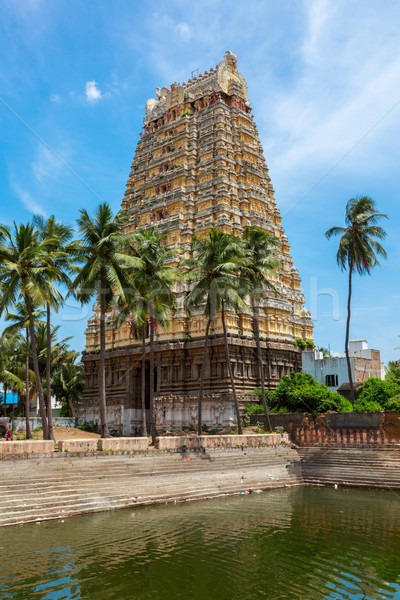 Gopura (tower) and temple tank of Lord Bhakthavatsaleswarar Temp Stock photo © dmitry_rukhlenko