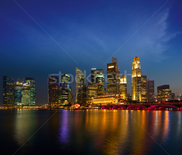 Singapore skyline in evening Stock photo © dmitry_rukhlenko